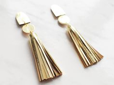 Handmade gold leather long tassel statement earrings от BenuMade