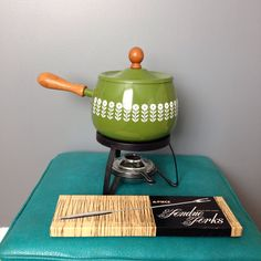 A personal favorite from my Etsy shop https://www.etsy.com/listing/224186603/vintage-like-new-green-and-white-fondue