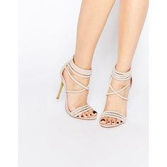 Public Desire Lubna Nude Strap Heeled Sandals ($45) ❤ liked on Polyvore featuring shoes, sandals, beige, high heel stilettos, faux suede shoes, strappy heel sandals, heeled sandals and heels stilettos