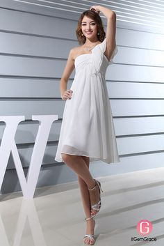 Short chiffon one shoulder wedding dress