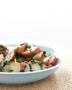 New Potato Salad - To make this tangy French-style potato salad, toss tender red new potatoes with lemon zest, lemon juice, and your choice of chopped fresh herbs such as chives, parsley, tarragon, or dill. Serve it chilled or at room temperature.