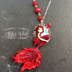 Tiny red fire mermaid cameo  Unique necklace model  by AkikosWorld