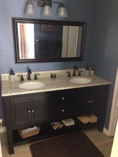 Foremost, Gazette 61 in. Vanity in Espresso with Golden Hill Granite Vanity Top with White Double Bowl, GAEA6022DTGHT at The Home Depot - Mobile