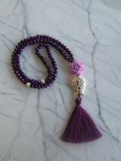 Purple 99 islamic prayer beads with purple flowers, Tasbih, Tesbih, Necklaces