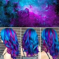 We've gathered our favorite ideas for 11 Most Bizarre Yet Genius Trends In 2015 Hair, Explore our list of popular images of 11 Most Bizarre Yet Genius Trends In 2015 Hair in galaxy hair. Galaxy Hair Color, Vivid Hair Color, Pretty Hair Color, Bright Hair Colors, Beautiful Hair Color, Hair Color Purple, Hair Dye Colors, Bright Coloured Hair, Beautiful Sunset
