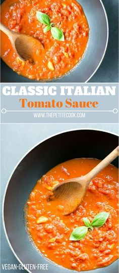 This classic Italian tomato sauce is one of those basic recipes you need to have in your life. It's conveniently vegetarian, dairy-free, vegan and gluten-free, and takes only 5 ingredients and 30 mins to make! thepetitecook.com #glutenfree #vegan #vegetarian