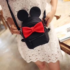Backpacks 2016 hot selling high quality School female bag pu leather women  bag of Mickey ears sweet bow College Wind mini backpack -- Find out more by  ... 743db89fd27d9