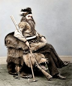 23 Iconic Black and White Photographs Realistically Colorized and Restored: Seth Kinman, a Californian hunter and trapper, 1865