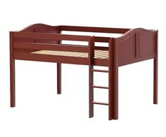 LARGE Full size Low loft bed chestnut by Maxtrix kids furniture
