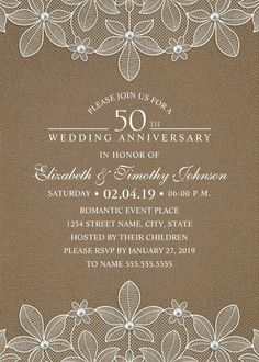 Rustic Burlap 50th Wedding Anniversary Invitations –  Lace and Pearls Cards. Unique luxury wedding anniversary invitations. Feature a beautiful rustic lace, pearls, a unique stylish typography on a rustic burlap background. A romantic invitation perfect for rustic country themed, or other wedding anniversary celebrations. This creative wedding anniversary invitation is fully customized. Just add your wedding anniversary cerebration details. More at http://superdazzle.com