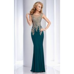 Clarisse 4507 Landing A Long High Neckline Sleeveless ($470) ❤ liked on Polyvore featuring dresses, gowns, forest green, formal dresses, green cocktail dress, formal gowns, green evening dress, lace evening dress and long evening dresses