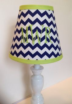 Monogrammed Lamp Shade in Navy Blue Chevron with Lime Green Accent on Etsy, $54.00