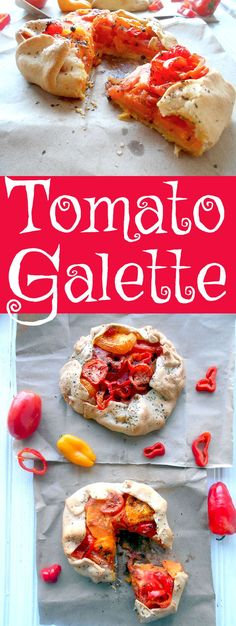 Tomato Galette with Sweet Potatoes and Mini Sweet Peppers. Galette recipes for any occasion. Better than ordering pizza. Quiches, Sin Gluten, Gluten Free, Vegetarian Recipes, Healthy Recipes, Vegetarian Brunch, Delicious Recipes, Galette Recipe, Brunch Recipes