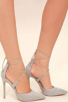9ac776e21c03e6 Everyone could benefit from the chic style that the Dani Grey Suede Lace-Up  Heels