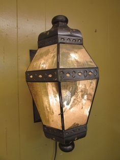 Antiqued Moorish Glass Hanging Farol Lamp-Mexican Folk Art-Handmade-10x19 in.
