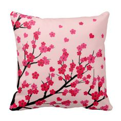 love cherry blossom throw pillow