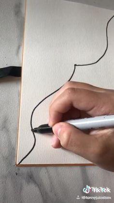 Art Drawings Sketches Simple, Pencil Art Drawings, Easy Drawings, Easy Canvas Art, Diy Canvas, Small Canvas, Doodle Art Designs, Art Tutorials, Diy Art