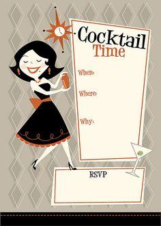 Cocktail Time by Jerrod Maruyama Retro Images, Vintage Images, Vintage Posters, Vintage Signs, Mid Century Modern Art, Mid Century Art, Retro Illustration, Illustrations, Icarly