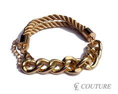Light Gold Nautical Silk Rope Chunky Gold Chain Bracelet Adjustable