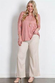 Plus Size Fold over Linen pants
