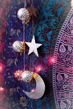 Gold Moon Phases & Stars Wall Hanging $18 | Mandala Tapestries & Bohemian Bedroom Decor by Lady Scorpio.