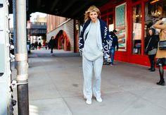 NYFW Street Style 2016.  Love the shawl collar cardigan sweater!