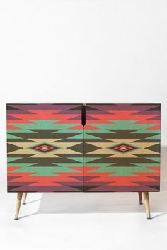 Fimbis Vitan Credenza | DENY Designs Home Accessories #furniture #geometric #art #home #interiors #homedecor #fashion #symmetrical #purple #blue #cerise #wooden #wood #grey