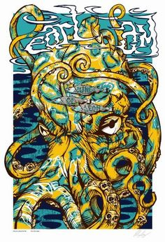 Pearl Jam Concert Poster Entertainment Centre Adelaide Nov 2006 of a series of 12 Australian Concert Posters Limited Edition that sold out instantly at the Venue poster measures 19 inches x 28 inches Artist: Rhys Cooper Rock Posters, Band Posters, Concert Posters, Rhys Cooper, Octopus, Musik Illustration, Pearl Jam Posters, Pearl Jam Eddie Vedder, Sale Poster