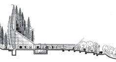 Jean-Marie Tjibaou Cultural Center ( Nouméa, New Caledonia) - Renzo Piano Renzo Piano, Architecture Drawings, Concept Architecture, Architecture Details, Museum Architecture, Autocad, Architectural Section, Architectural Presentation, Jean Marie