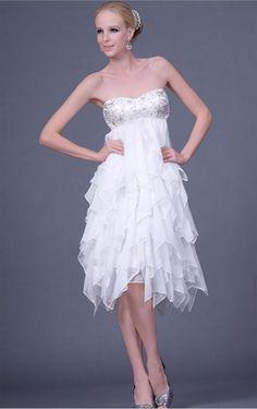 Formal Prom Dress Canada, Stylish White A-line Asymmetrical Sweetheart Dress