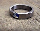 Titanium and sapphire ring by robandlean on Etsy