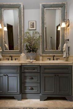 Nice 88 Modern Rustic Farmhouse Style Master Bathroom Ideas. More at http://www.88homedecor.com/2017/12/27/88-modern-rustic-farmhouse-style-master-bathroom-ideas/ #bathroomimprovements