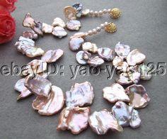 Rare Natural! 26x30MM Keshi Pearl Necklace #Handmade #StrandString