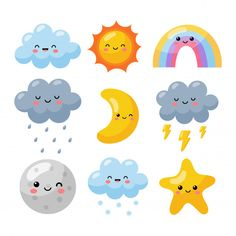 Weater Icons Set Cartoon Style Isolated On White . Doodle Art, Aesthetic Stickers, Cute Cartoon Wallpapers, Cartoon Styles, Cute Stickers, Sticker Design, Icon Set, Easy Drawings, Preschool Activities