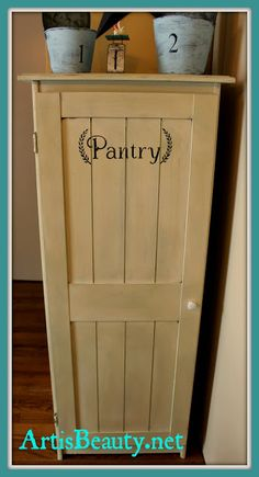 ART IS BEAUTY: Old Sauder Cupboard Turned vintage Cottage style Pantry. http://arttisbeauty.blogspot.com/2013/03/old-sauder-cupboard-turned-vintage.html
