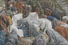 James Tissot - La Sainte Vierge baise la face de Jésus avant qu'il ne soit enveloppé par les suaires sur la pierre de l'onction