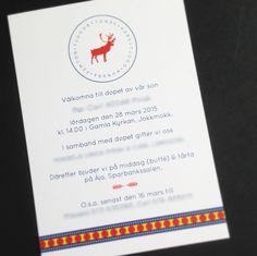 Ett personligt kort till ett par med samiska rötter. Bården är inspirerad av bälten till de traditionella samiska dräkterna som går i rött, blått och gult. Till grunden ligger kortet Stämpel.