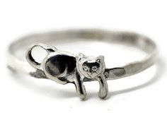 Sterling Silver Kitten Ring, Handmade Sterling Silver Ring, Handforged Animal Ring, Cat Ring