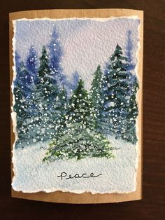 Winter scene watercolor christmas card watercolor in 2019 ак Watercolor Painting Techniques, Watercolor Projects, Watercolor Trees, Watercolor Cards, Watercolor Illustration, Watercolor Paintings, Simple Watercolor, Tattoo Watercolor, Watercolor Animals