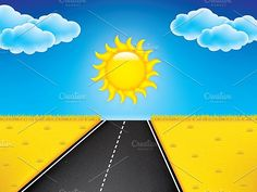 Vector landscape background Graphics Road in golden yellow field, sun, clouds on the blue sky.Included files: .AI (CS4, CMYK), .eps (1 by gigello