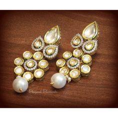 Dazzling cut kundan and a.d. earring - Online Shopping for Earrings by Elegant Elements