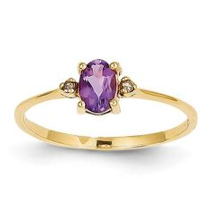 14k Diamond & Amethyst Birthstone Ring XBR203