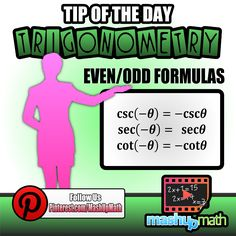 Do you know the even/odd formulas for the trigonometry functions? Catch all of our math tips by following us on instagram!