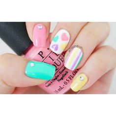 Valentine's Day Nails: Pastel Hearts & Stripes (elle & ish - shopping,... ❤ liked on Polyvore featuring backgrounds and beauty