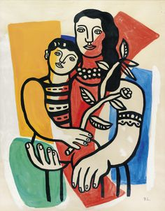 """Mère et Enfant, Leger (1952)  You can find images of """"Mother and Child"""" over any continent due to the influences of Christianity, more specifically Catholicism. In this painting by French artist Léger we witness bold blocks of color, perhaps reminders of cubism, but rather than shading to create dimensionality, he relies on placement of the women's right hand and arm that are placed in front of the child in her arms. The red curved shape pushing both her right hand and his left hand forward."""