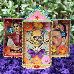 Make funky shadow box frames with your favorite post cards and dollar store…
