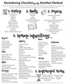 Excited to use this free printable decluttering checklist for the KonMari Method of discarding and organizing! It includes ALL the categories in a handy checklist to kickstart your decluttering and organization spree. Love this series!: