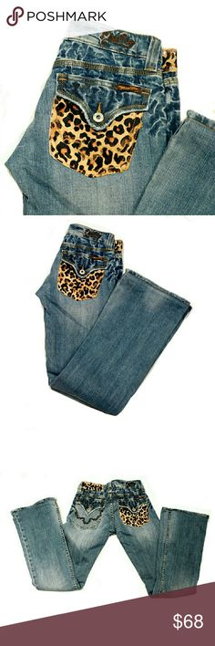 "RARE MISS LEOPARD CHEETAH COWHIDE BOOTCUT JEANS RARE LEOPARD CHEETAH COWHIDE BOOTCUT JEANS Pre-Loved/ Style JP42298 SZ 27 98% Cotton 2% Polyurethane Approx Meas; Waist 14"" Inseam 32"" Rise 7"" Leg Opening 9"" Measurements R APPROXIMATE. Colors May Not be Exact due to Lighting or Ur Screen Miss Me Jeans Boot Cut"