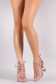 Qupid Nubuck Caged Back Lace-Tie Chunky Lucite Heel