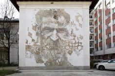 Brancusi - Street art in Bucharest by Vhils